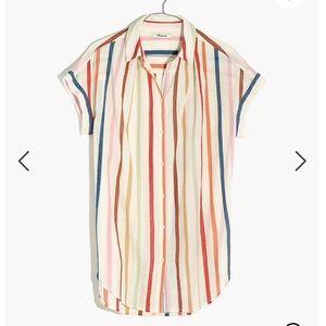 Madewell Gauze Central Tunic Shirt Rainbow Stripe